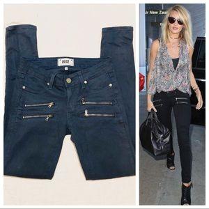 PAIGE Edgemont zip skinny jeans in cornflower blue